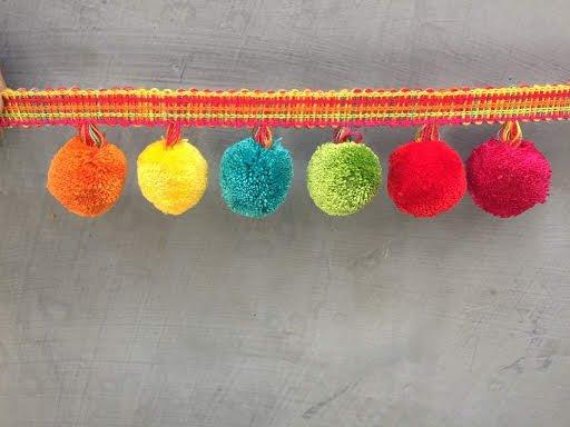 Multi color Pom Pom lace